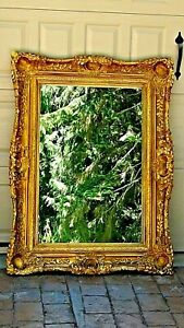 Large French Victorian Gold Real Wood Carved Ornate Picture Mirror 49 5 X 37