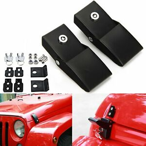2pc Locking Hood Look Catch Hood Latches For Jeep Wrangler Jk Unlimited 07 2017