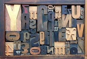 Antique Letterpress Printers Wood Type Mix 49 Pieces