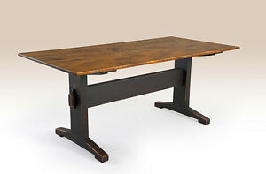 Trestle Table 5 Foot Tiger Maple Wood Top Primitive Black Base Kitchen Furniture