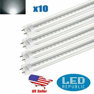 10pc 4ft 20w 6000k Led Light Double Pin Fluorescent Replacement T8 Tube Lamp B2