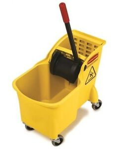 Rubbermaid 1887304 Tandem Mop Bucket Plastic Yellow 31 Quart