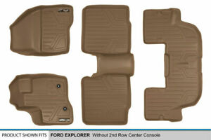 11 14 Ford Explorer W o 2nd Row Console Tan Floor Mats 1st 2nd 3rd Row Liners