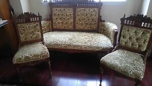 Antique 1800s Eastlake Victorian Settee Love Seat And Two Chairs