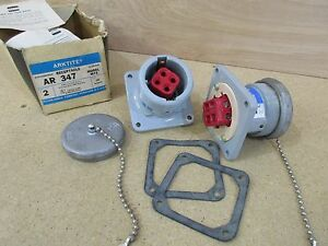 New Pair Of Crouse hinds Ar347 Arktite Model M72 30 Amp Receptacles