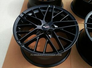 Gloss Black C6 Zr1 Corvette Wheels 19x10 20x12 Fits 2006 2013 Z06 Grand Sport