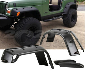 Pocket Style 6pcs Fender Flares Black Textured Finish For 97 06 Jeep Wrangler Tj