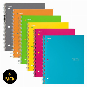 Spiral Notebook 1 Subject College Ruled Paper 100 Sheets 11 x 8 1 2 Asst 6pk