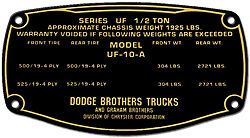 Dodge Brothers Truck Data Plate Acid Etched Brass 1920s 1930s