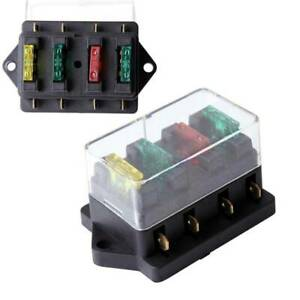 4 Way Fuse Blade Holder Box Block Black Car Vehicle Automotive Circuit W 4 Fuse