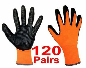 Great Deal 120 Pack Lot Wholesale Nitrile Coated Work Safety Gloves High Quality