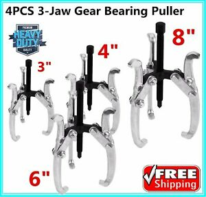 4 pc Three Jaw Gear Pullers 3 4 6 8 For Removes Gears Pulleys Flywheels Bt