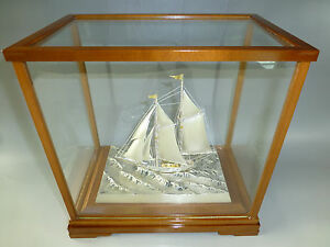Vintage Japanese Sterling Silver Model Ship Boat By Seki Japan With Outer Case