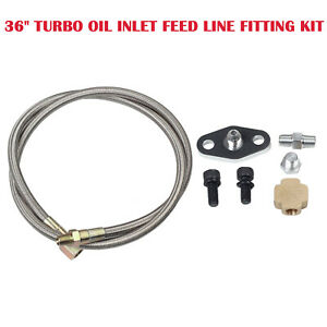 36 Turbo Oil Inlet Feed Line Fitting Kit For T3 T4 T25 T28 Turbo Turbocharger