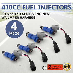 4x New Oem Denso Acura Rdx 410cc Fuel Injectors W Plug Play Adapters For Honda