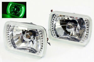 7x6 H6014 H6052 H6054 Green Led Ring Chrome Crystal Diamond Headlights Headlamps