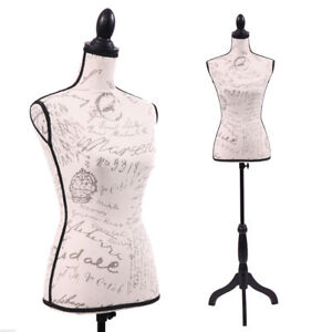 Female Mannequin Torso Designer Pattern Dress Form Display W black Tripod Stand