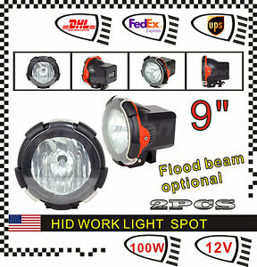 2pcs 9inch Hid Xenon Fog Work Light 100w 12v Spot Flood Car Lamp Offroad Driving