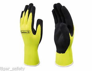 12 Pairs Delta Plus Venitex Vv733 Apollon High Visibility Yellow Coated Gloves
