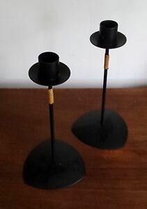 Vintage Danish Modern Mid Century Set Two Candle Holders Laurids Lonborg Style