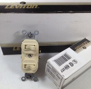 X10 Leviton Ivory Double Toggle Light Switch Duplex 1 pole And 3 way 5241 i New