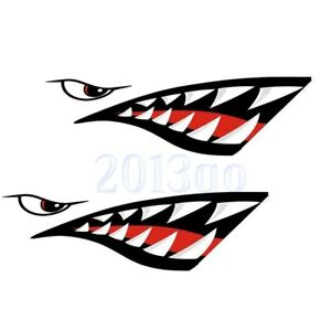 2x Shark Teeth Decals Sticker Fishing Boat Canoe Graphics Accessories Car Cg