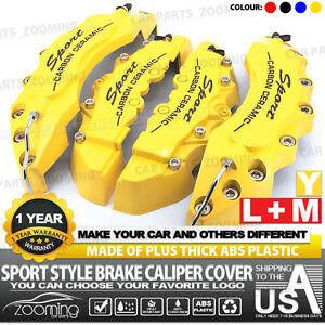 4x Universal Sport Style Disc Brake Caliper Cover Front Rear Yellow 10 5 Lw01