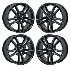 18 Ford Mustang Gt Black Chrome Wheels Rims Factory Oem 2017 2018 Set 4 10030