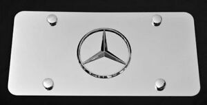 1pc New 3d Chrome Logo Emblem Stainless Steel License Plate For Mercedes Benz