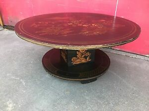 Vintage 60s Hand Painted Black Lacquer Pedestal Coffee Table