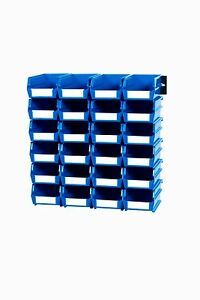 Triton Products Wall Storage Sm Blue Bins rails