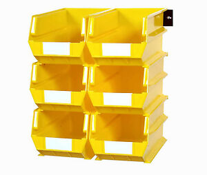 Triton Products Wall Storage 6 Yellow Bins 2 Wall Mount Rails
