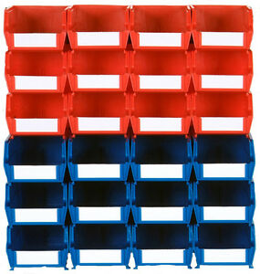 Triton Products Wall Storage 12 Sm Red 12 Med Blue Bins 2 Wall Mount Rails