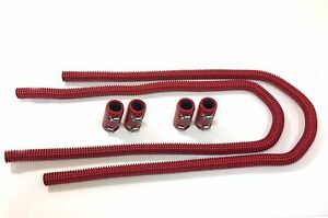 44 Universal Red Radiator Hose Kit Red Aluminum Clamp Covers End Cap