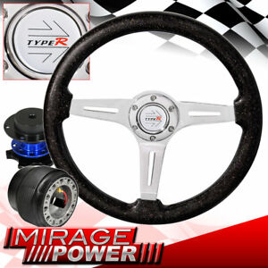 Metallic Black Deep Dish Steering Wheel Blue Quick Release For 86 89 Integra