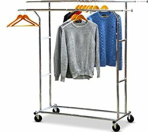 Houseware Commercial Grade Double Rail Clothing Garment Rack With 4 inch Home