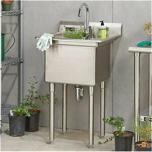 Commercial Kitchen Utility Sink W faucet Indoor outdoor