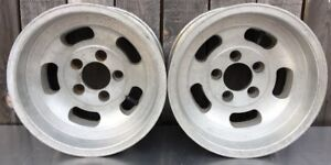 Set 2 Vtg 14 X 7 Slotted Aluminum Mag Wheels 5x4 3 4 Appliance Chevy