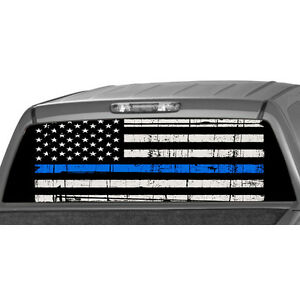 American Flag Police Officer Rear Window Perforated Truck Ute Graphic Decal Tint
