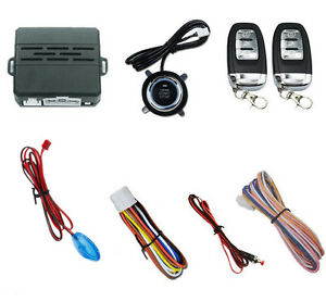 Push Button Car Engine Starter Alarm Security System Kit Sound And Light Alarm