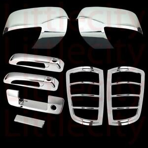 For 2009 2012 Dodge Ram Chrome Mirror 2 Doors Tailgate W o C Tail Light Cover