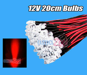 100pcs X 10mm Pre Wired Round Led 12v 20cm Bulbs Lamp Lights Red