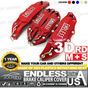 Metal 3d Endless Universal Style Brake Caliper Cover Front rear 4pcs Red Lw02