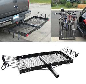 Bike Cargo Carrier Rack 500 Lbs Suv Trucks Tow Hitch Connection Heavy Duty Steel