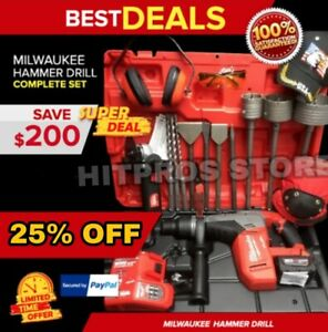 Milwaukee Cordless Hammer Drill Sds Max Free Grinder Bunch Extras Fast Ship