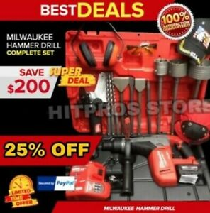 Milwaukee Cordless Hammer Drill Sds Max Free Thermo Bunch Extras Fast Ship