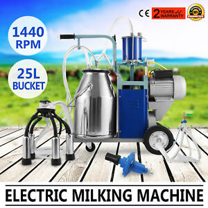 25l Electric Milking Machine For Goats Cows W bucket Milker Automatic 1440rpm