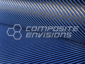 Carbon Fiber Made With Kevlar Blue Fabric 4x4 Twill 50 3k 7 6oz 257gsm