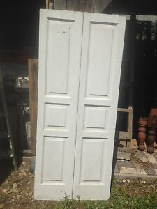 Vtg Pair 1800 S Old Wooden Window Shutters Architectural Salvage Screen 67 X15