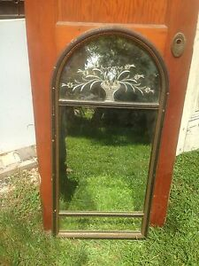 Vintage Floral Art Deco Etched 3 Pane Wall Mirror Victorian